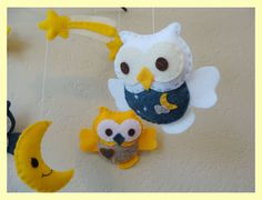 Hanging Mobile -- Forest friends Baby Owls in night sky (READY TO SHIP) $60.00