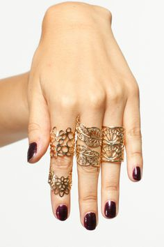 Golden Mid Ring Set