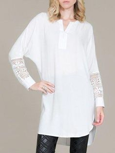 6a569f17f1e V Neck Lace Patchwork Blouses from fashionmia.com Blouse Dress