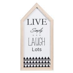 Decoración de pared casa de madera blanca Al. 32 cm LIVE & LAUGH