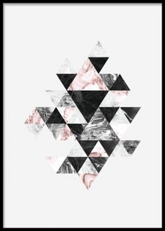 Graphical poster with triangle pattern on light gray background. Match with our other posters in this trendy and stylish series and create a personalized art collage at home! The poster looks just as nice in portrait or landscape orientation. Looks perfect in the living room above the sofa. www.desenio.com