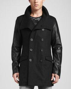 Diesel Rondel Mixed Fabric Coat, Black - Neiman Marcus