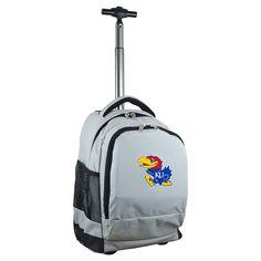 NCAA Kansas Jayhawks Grey Premium Wheeled Backpack