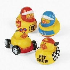 One Dozen (12) Rubber Ducky Duck Duckie Race Car Birthday Party Favors [Toy]
