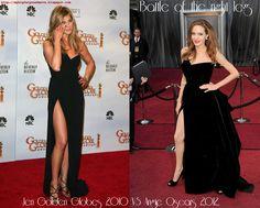 Battle of the Right Leg: Jennifer Aniston (Golden Globes 2010) VS Angelina Jolie (Oscars 2012)     Original images via GossipCenter.com
