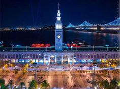 An evening at the Ferry Building at the docks in San Francisco, California.