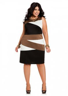 Ashley Stewart Women's Scuba Color Block Plus Size Dress - http://www.amazon.com/gp/product/B00FH7MXEC/ref=as_li_ss_tl?ie=UTF8&camp=1789&creative=390957&creativeASIN=B00FH7MXEC&linkCode=as2&tag=pintr20-20