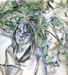 """Lucien Freud -Study for """"After Watteau"""", charcoal and oil on paper"""