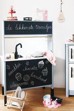 Ikea Kids Kitchen, Diy Play Kitchen, E Room, Kids Room, Big Girl Rooms, Diy For Kids, Kids Playing, Playroom, Toddler Bed
