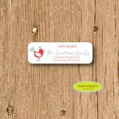 Happy Holiday Red Cardinal Bird Customized Return Address Labels-We Have Moved Address Labels,Self-adhesive Address Sticker,Address Label by PaperEtiquette on Etsy