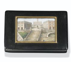 A ROMAN MICROMOSAIC PANEL MOUNTED IN A GOLD-MOUNTED TORTOISEHSELL SNUFF BOX, CIRCA 1820