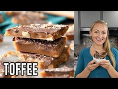 How to make perfect toffee candy at home! This toffee recipe includes plenty of great helpful tips and also a how-to video. Candy Recipes, Holiday Recipes, Dessert Recipes, Desserts, Homemade Toffee, Homemade Candies, The Best Toffee Recipe, Christmas Baking, Christmas Sweets