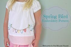 Free PDF download for Spring Bird and Bunting Embroidery by Welcome to the Mouse House @  Sew,Mama,Sew! Blog