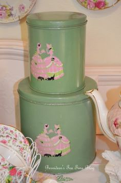 "Bernideen's Tea Time Blog: VINTAGE CANISTERS for ""Friends Sharing Tea"""