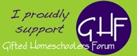 Yes, I support @Gifted Homeschoolers Forum (@GiftedHF) and am happy to display their site badge on my website. More information at http://www.giftedhomeschoolers.org/