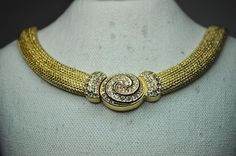 CHRISTIAN DIOR Vintage Wide Gold Mesh Pave by HauteVintageJewels