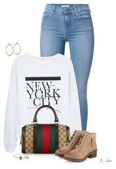 """""""Out & about"""" by ksims-1 ❤ liked on Polyvore featuring 7 For All Mankind, MANGO, Gucci, Alex and Ani and Sidney Garber"""