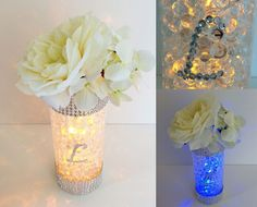 Glowing INITIAL NUMBER Wedding Centerpiece - Bouquet Holder - Candle - Table Number - Diamond Rhinestone Silver Centerpiece Decoration