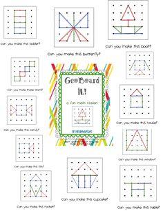 First Grade Blue Skies: Ta-Dah! GeoBoard It! Math Station Pack and a Freebie! Math Classroom, Kindergarten Math, Teaching Math, Go Math, Math Stations, Math Centers, Work Stations, Math Games, Math Activities