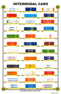 """An 11""""x17"""" poster with some of Andy Fletcher's hand drawings of railroad intermodal cars."""