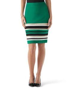 White House | Black Market Pieced Stripe Ponte Skirt #whbm