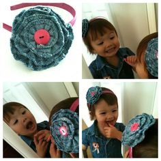 Stips of old jeans with heart shape border stitch = flower headband accessory
