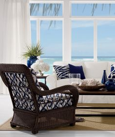 Ethan Allen | shop | rooms | living room. love this chair. wicker in the living room. 939 in natural outdoor fabric. no white
