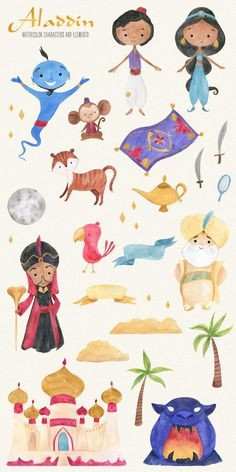 In this Aladdin Watercolor Clipart Set you will find 25 hand painted watercolor elements. All of them are PNG 300 dpi files with transparent background. Arts And Crafts For Adults, Arts And Crafts House, Easy Arts And Crafts, Arts And Crafts Projects, Arts And Crafts Interiors, Arts And Crafts Furniture, Aladdin Art, Arts And Crafts Storage, Art And Craft Videos