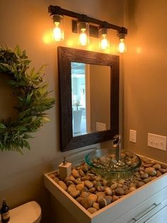 How to Make a DIY River Rock Bathroom Counter and Vessel Sink Bathroom Design Luxury, Bathroom Design Small, Home Room Design, Home Interior Design, Interior Modern, River Rock Bathroom, Glass Kitchen Cabinet Doors, Cocina Diy, Washbasin Design