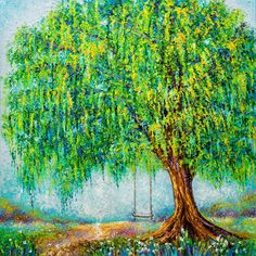 Willow Tree Artwork - Under The Willow Tree Canvas Wall Art Tree Painting Easy, Acrylic Painting Trees, Watercolor Landscape Paintings, Watercolor Trees, Landscape Art, Cat Watercolour, Sponge Painting, Mural Painting, Mural Art