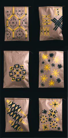 Masking tape + kraft envelopes + chain stitch