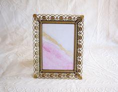 Fancy 5x7 Frame, Gold / Brass Metal Roses, Vintage Picture Frame