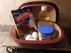 Molten Lava Cake in Pampered Chef Deep Covered Baker! 1 box chocolate cake mix. eggs, oil, water. (amounts needed are on the cake mix box.) 1 can of Chocolate frosting Stir together and pour mixture into baker. Drop large spoonfuls of frosting over different areas of the batter(use about half of the can). Cook covered approx 10 min in the microwave! Spread remaining frosting over warm cake. Get yours today! www.pamperedsid.com