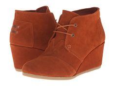 TOMS Desert Wedge Cognac Suede - Zappos.com Free Shipping BOTH Ways