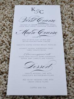 Menus - Wedding Menus. $1.85, via Etsy.
