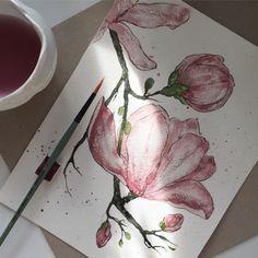 Magnolia watercolors