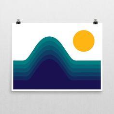 Ocean Horizon 70s Retro Poster 24x18 Wall Art Free Shipping Beach Print Ocean Art Beach Art