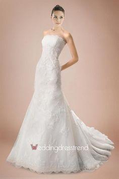 Cheap Sweet Strapless Mermaid Chapel Train Wedding Dress