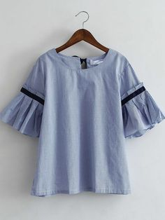 Shop Blue Bell Sleeve Self-Tie Bow Back Striped Blouse online. SheIn offers Blue Bell Sleeve Self-Tie Bow Back Striped Blouse & more to fit your fashionable needs. Bell Sleeve Blouse, Bell Sleeves, Abaya Designs, Bow Back, Bow Blouse, Blouse Online, Spring Summer Fashion, Spring Style, Cute Tops