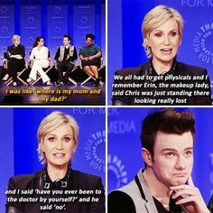 Chris Colfer and Jane Lynch at PaleyFest Chris Colfer, Darren Criss, Glee Memes, Glee Quotes, Rachel And Finn, Jane Lynch, Glee Club, Hilarious, Funny