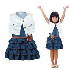 3Pc Lovely Toddler Girls Navy Retro Denim Layered Dress Petal Belt Sleeveless Coat