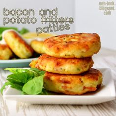 Bacon and potato patty fritters.. sooo ridiculously easy and insanely delicious. Even the 2yr old loved them!