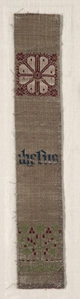 Fragment of a Band, compound twill weave Germany 14th- 15th century