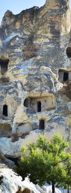 Houses carved into the rock mountains in Turkey.