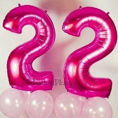 Voor elke leeftijd een Ballon#verjaardag #heliumballon #22 #decoratie #fuchsia #cijfer #leeftijd #balloons #ballonplusnl