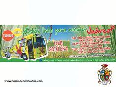 TURISMO EN CIUDAD JUÁREZ. Le invitamos al Turibus Juárez, todos los sábados al Tour Sotolera a partir de las 12:00 del día, el tour tiene una duración de 4 horas, el costo por persona es de $400.00 pesos para adultos y de $280.00 pesos para niños menores de 12 años. Para mayores informes se puede contactar al teléfono (656)6271025. Venga y disfrute de un divertido paseo con su familia en este verano. #visitachihuahua