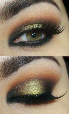 Ojos negro. Dorado y naranja