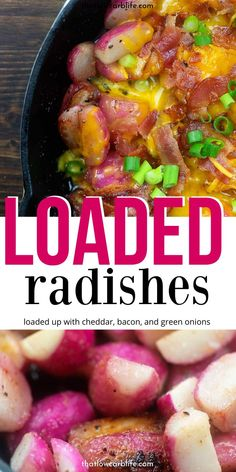 Recipes Breakfast Low Carb Loaded Radishes have cheddar, bacon, and tons of green onions. One incredible side dish or main dish that you can whip up in no time. A low carb side dish that is anything but bland. Keto Foods, Ketogenic Recipes, Low Carb Recipes, Diet Recipes, Cooking Recipes, Healthy Recipes, Recipes Dinner, Dessert Recipes, Diet Desserts