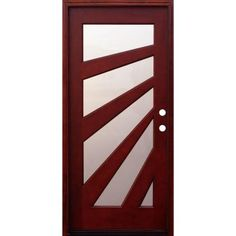 Pacific Entries 36 in. x 80 in. Contemporary 5 Lite Fan Stained Mahogany Wood Prehung Front Door-M59ML - The Home Depot