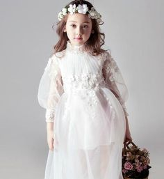 Girly Shop's White Beautiful Flower Applique Ruffle Collar Long Bell Sleeve Midi Little Girl See-Through Party Dress